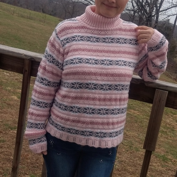 Fashion Bug Sweaters Pink Turtleneck Medium Knit Sweater